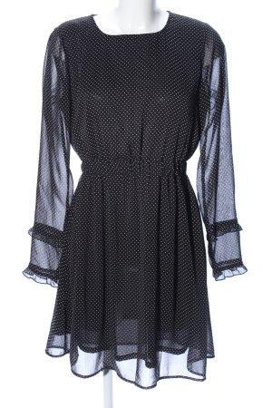 Luxe by Vila Clothes Langarmkleid schwarz Punktemuster Elegant