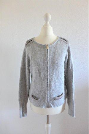 luxe by VILA Clothes Strickjacke Angora hellgrau silber Gr. S M 36 38