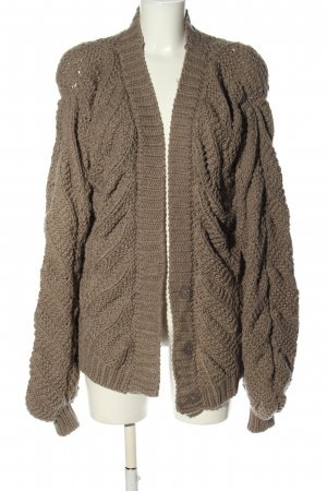 Luxe Cardigan braun Zopfmuster Casual-Look