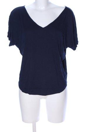 Luxe T-shirt col en V bleu style décontracté