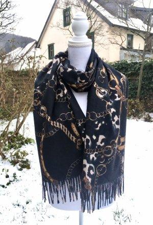 0039 Italy Sjaal van kasjmier zwart-goud Oranje Kasjmier