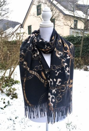 0039 Italy Cashmere Scarf black-gold orange cashmere