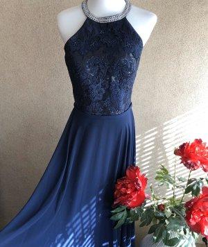 Luxuar Abendkleid Maxikleid in blau mit Stickereien neu
