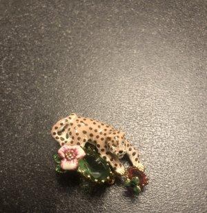 luxuriöse Brosche Les Nereides Panther Leopard mit Blumen Kristall
