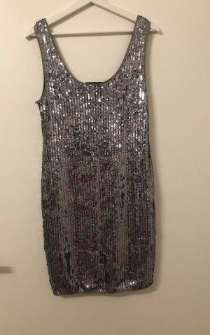 Luxuriöses Pailletten Silber Kleid