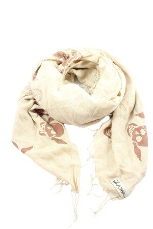 LUXURY Écharpe à franges crème-brun imprimé avec thème style décontracté