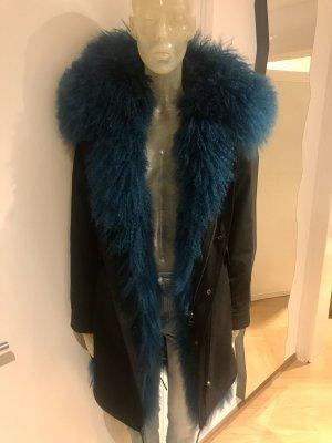 Dont believe the hype Fur Jacket black-petrol