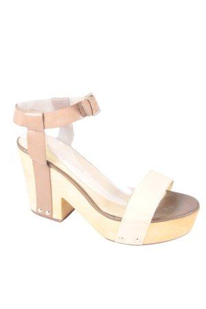 Luxury rebel Sandały na platformie jasnobrązowy-kremowy Nitowe zdobienie
