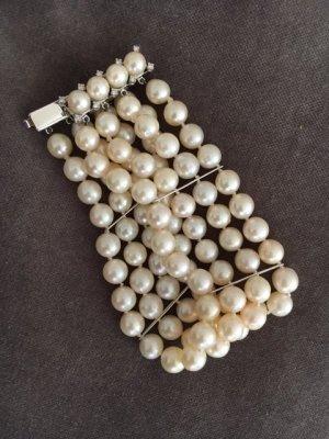 LUXUS- 4!-reihiges Perlenarmband mit 10 Diamanten, Jacky Kennedy-Style!