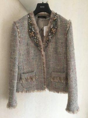 MARCCAIN Blazer Tweed rosa empolvado Algodón