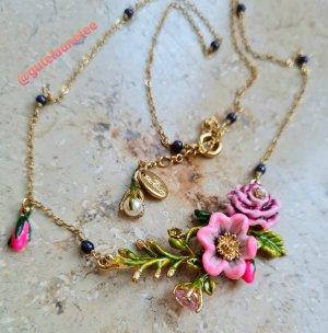 luxus Collier Halskette mit bunten handbemalten Blumen * neuwertig * Les Nereides