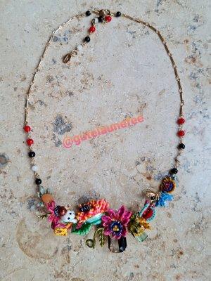 luxus Collier Halskette mit bunten handbemalten exotischen Blumen und Tieren * neuwertig * Les Nereides