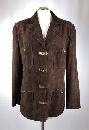 Luxus Designer  Jacke GuyFulop Größe M 38 40 Dunkelbraun Goldfarben Metallschließe Steckverschluss Leder Long Blazer