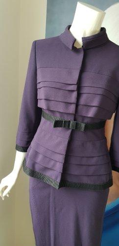luxus Designer kostüm zweiteiler alberta Ferretti amall deep purple gefüttert high class