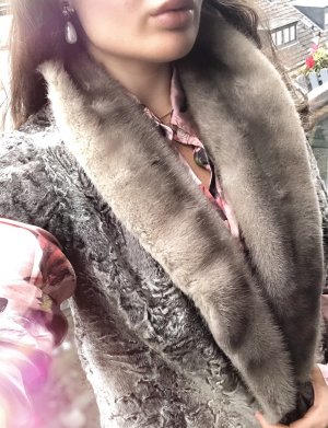 Fur vest grey-light grey alpaca wool