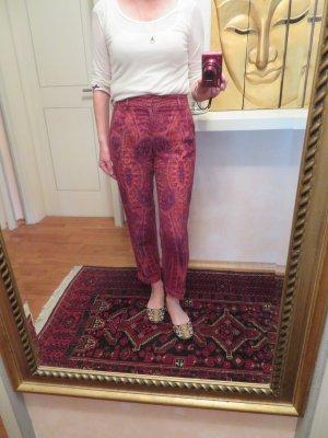Luxus ETRO Milano Hose 100% Leinen Stoffhose Bundfalten DE 34 36 IT 40 Rot Orange Paisley Muster Sommer