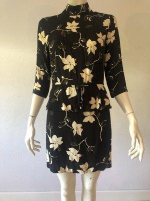 Luxus GANNI Kleid Gr 36 schwarz geblümt Blumen Langarm