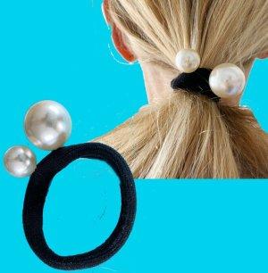 Luxus Haargummi schwarz 2 Perlen Stretch Zopf Dick Haarband Haarschmuck / Neu
