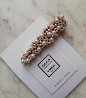 Luxus Haarspange mit Perlen besetzt Metall gold