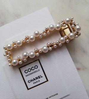 Luxus Haarspange mit Perlen besetzt Metall gold eckig
