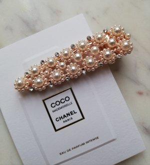 Luxus Haarspange mit Perlen Kristallsteinen besetzt Blüten