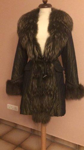 Luxus Mantel mit Pelzkragen