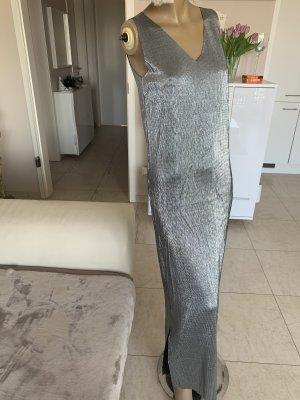 Luxus Maxikleid .. grau/silber metallic .. V-Neck .. Gr. M # Italy Moda # Neu .. blogger