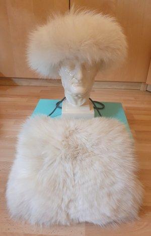 Luxus - Muff - Pelzmuff - Stirnband - weiß - Fuchs - Damen