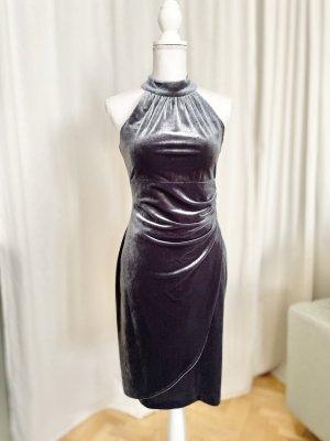Luxus Neckholder Kleid Samt Grau Vince Camuto edel 34 XS