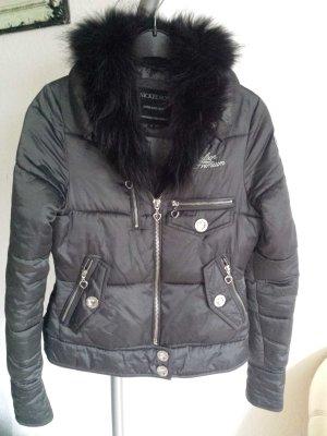 Luxus Nickelson Damen Biker Jacke  Übergang Grau Echt Pelz XL Strass Nieten Herz w. Neu gr S selten