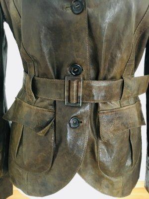 Luxus: Nur 10% vom VKP: Feinste Boss Lederjacke, Leder-Blazer,  tailliert Gr 38 oliv- Schnäppchen wegen Mangel