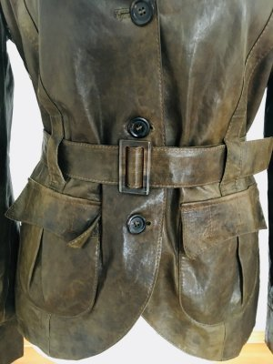 BOSS HUGO BOSS Leather Blazer green grey-ocher leather