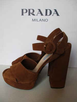 Luxus Prada Gr 40 Plateau Sandaletten Schuhe NEU
