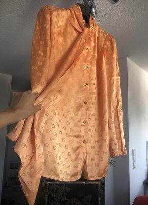 Luxus pur! 599€ Bluse aus Seide in hellorange apricot lang