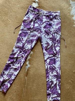 Luxus Pur! Gucci Hose 100% Seide Gr.40 Cady Paisley GG Muster lila weiß NP 980 €