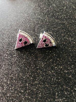 Luxus Qualität kleine Ohrstecker 925 Silber Wassermelone Dreieck pink Kristalle