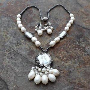 Luxus Schmuckset Designer Kette & Ohrringe grau weiß Perlen