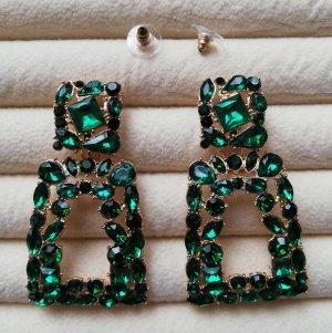 Luxus Statement Ohrringe groß Kristallsteine grün dunkelgrün