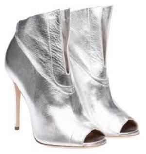 Konstantin Starke Peep Toe Booties light grey leather