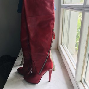 Poi Lei High Heel Boots red leather