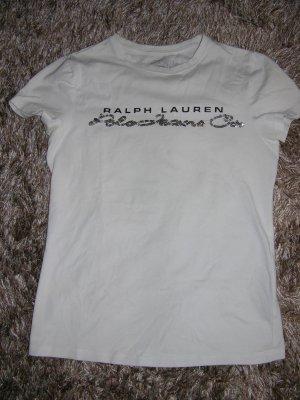 Luxus T-Shirt von Ralph Lauren in Weiß mit Pailletten Gr. XS
