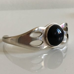 Luxus Vintage Mexico 925 Sterling Silber Armband Onyx cabochon Edelstein Silberarmreif