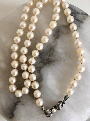 Luxus Vintage Perlenkette  835 Silber Echtperlen echt Perlen Kette Collier antik Perlencollier
