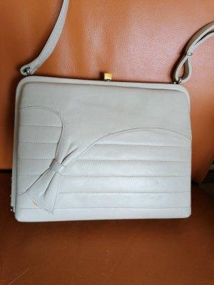 Luxus Vintage Tasche Unikat Schleife Schultertasche Kelly Bag Echt Leder Creme Weiß