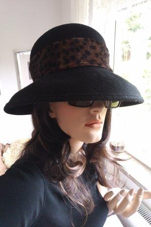 Vintage Chapeau en laine noir-brun