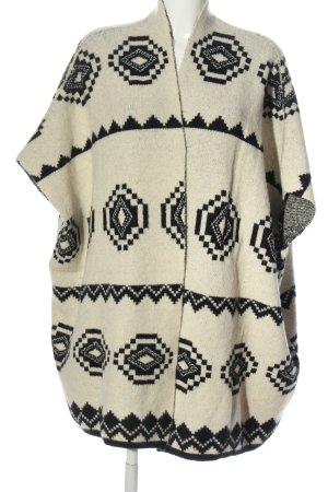 Luzabelle Ponczo z dzianiny w kolorze białej wełny-czarny W stylu casual