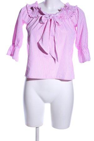 Blusa alla Carmen rosa-bianco motivo a righe stile casual