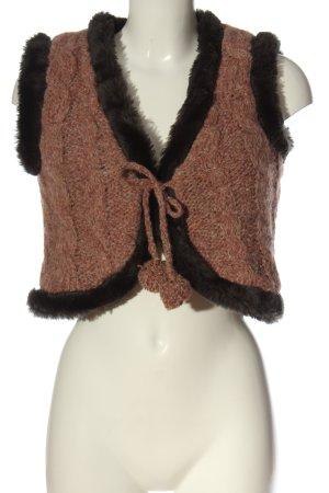 lykkelig Smanicato di pelliccia marrone-nero stile casual