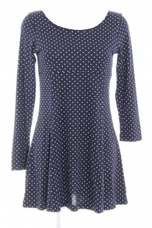 lykkelig Jerseykleid dunkelblau-weiß Punktemuster Casual-Look