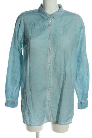 lykkelig Langarmhemd blau meliert Casual-Look